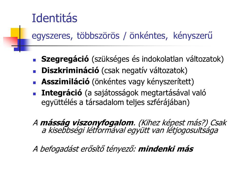 Identitás egyszeres, többszörös / önkéntes, kényszerű Szegregáció (szükséges és indokolatlan változatok) Diszkrimináció (csak negatív változatok) Assz