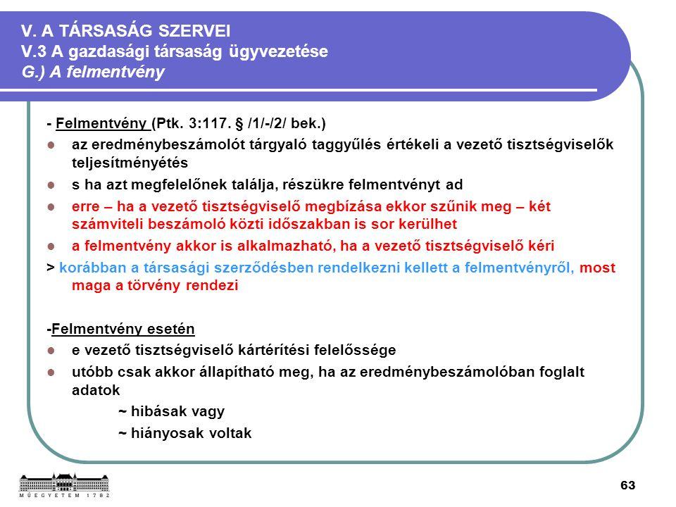 63 V. A TÁRSASÁG SZERVEI V.3 A gazdasági társaság ügyvezetése G.) A felmentvény - Felmentvény (Ptk.