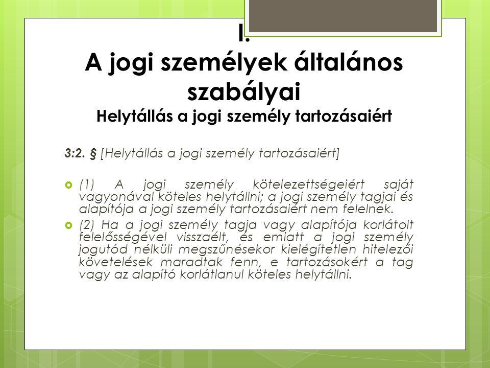 I. A jogi személyek általános szabályai Helytállás a jogi személy tartozásaiért 3:2. § [Helytállás a jogi személy tartozásaiért]  (1) A jogi személy