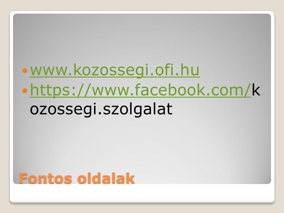 Fontos oldalak www.kozossegi.ofi.hu https://www.facebook.com/k ozossegi.szolgalat https://www.facebook.com/