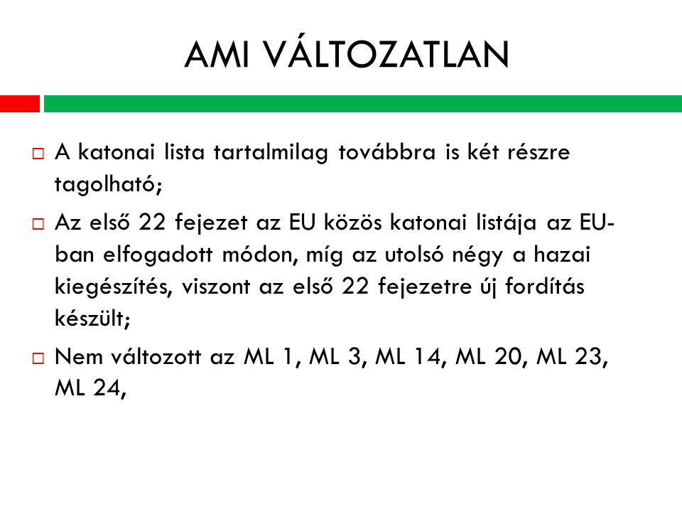 AMI VÁLTOZATLAN  A katonai lista tartalmilag továbbra is két részre tagolható;  Az első 22 fejezet az EU közös katonai listája az EU- ban elfogadott módon, míg az utolsó négy a hazai kiegészítés, viszont az első 22 fejezetre új fordítás készült;  Nem változott az ML 1, ML 3, ML 14, ML 20, ML 23, ML 24,