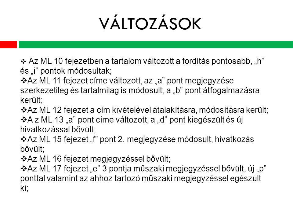 """VÁLTOZÁSOK  Az ML 10 fejezetben a tartalom változott a fordítás pontosabb, """"h és """"i pontok módosultak;  Az ML 11 fejezet címe változott, az """"a pont megjegyzése szerkezetileg és tartalmilag is módosult, a """"b pont átfogalmazásra került;  Az ML 12 fejezet a cím kivételével átalakításra, módosításra került;  A z ML 13 """"a pont címe változott, a """"d pont kiegészült és új hivatkozással bővült;  Az ML 15 fejezet """"f pont 2."""