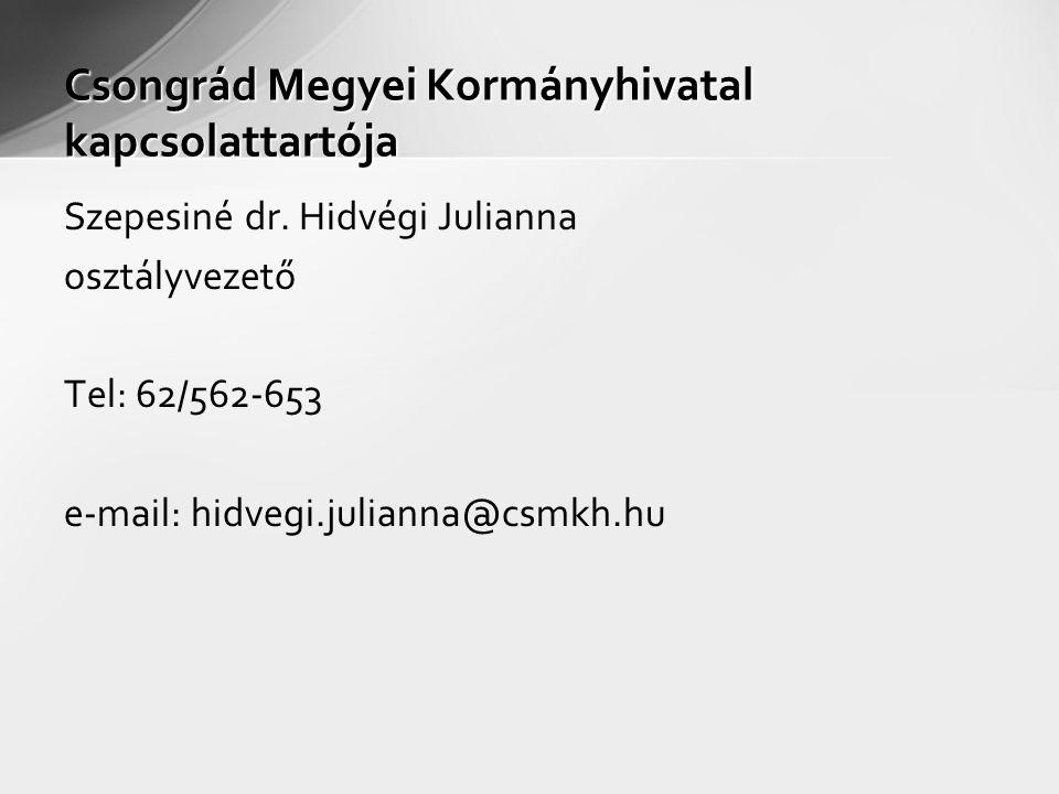 Csongrád Megyei Kormányhivatal kapcsolattartója Szepesiné dr. Hidvégi Julianna osztályvezető Tel: 62/562-653 e-mail: hidvegi.julianna@csmkh.hu