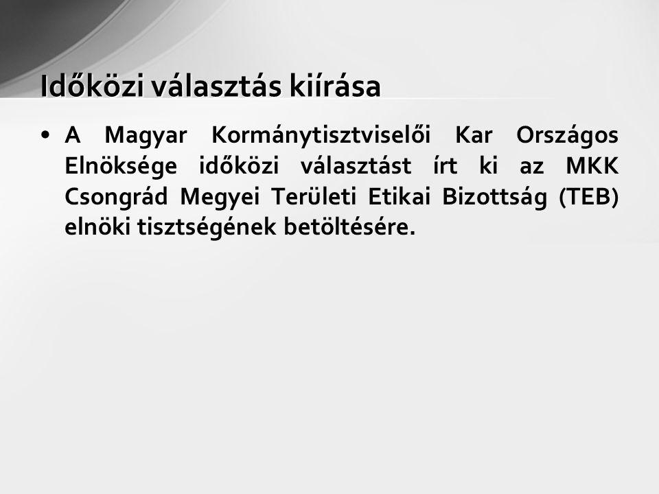 Időközi választás kiírása A Magyar Kormánytisztviselői Kar Országos Elnöksége időközi választást írt ki az MKK Csongrád Megyei Területi Etikai Bizottság (TEB) elnöki tisztségének betöltésére.