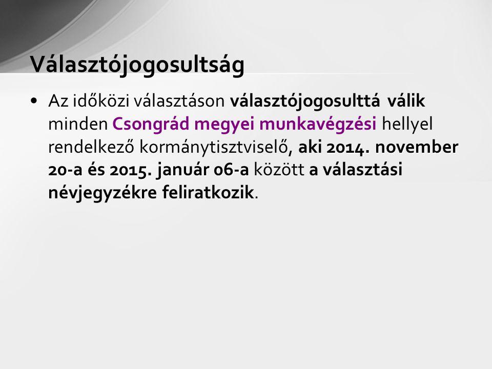 Választójogosultság 2014. november 20-a és 2015. január 06-aAz időközi választáson választójogosulttá válik minden Csongrád megyei munkavégzési hellye