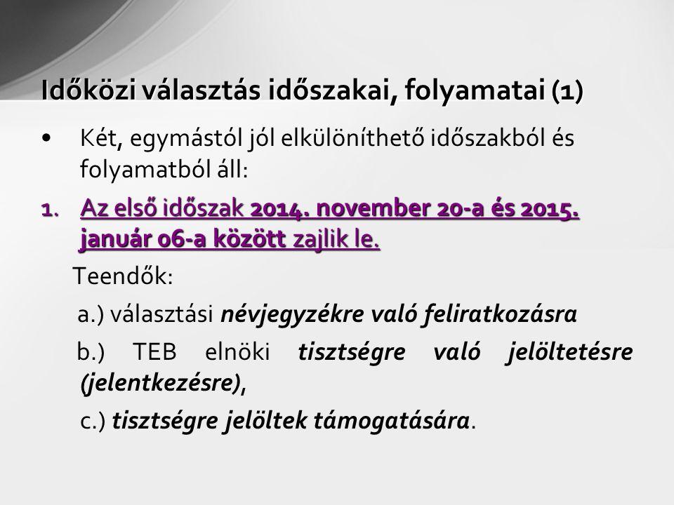 Időközi választás időszakai, folyamatai (1) Két, egymástól jól elkülöníthető időszakból és folyamatból áll: 1.Az első időszak 2014. november 20-a és 2