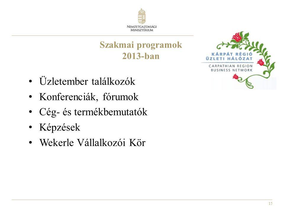15 Szakmai programok 2013-ban Üzletember találkozók Konferenciák, fórumok Cég- és termékbemutatók Képzések Wekerle Vállalkozói Kör