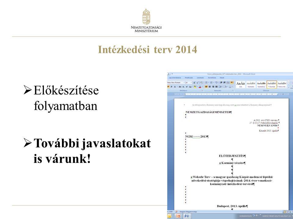 21 Intézkedési terv 2014  Előkészítése folyamatban  További javaslatokat is várunk!