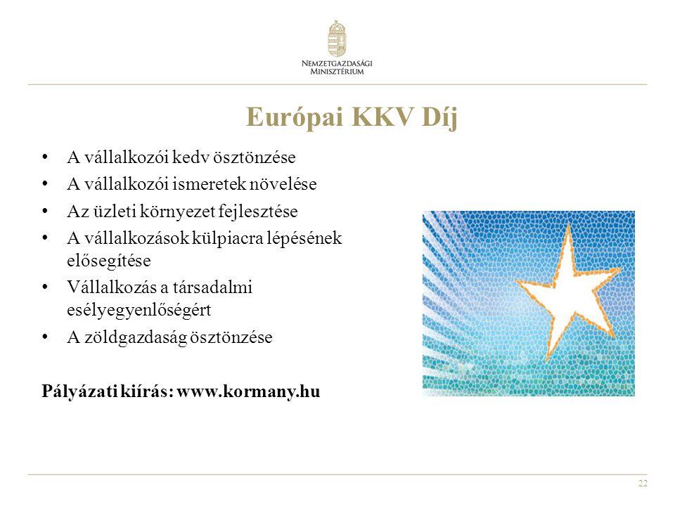 22 Európai KKV Díj A vállalkozói kedv ösztönzése A vállalkozói ismeretek növelése Az üzleti környezet fejlesztése A vállalkozások külpiacra lépésének