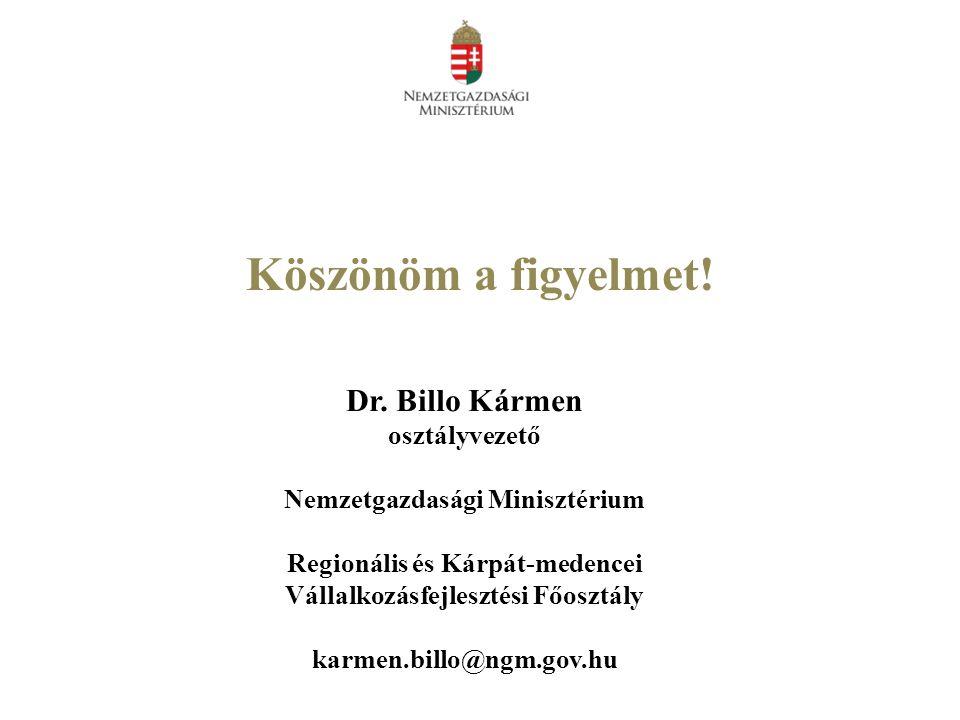 Köszönöm a figyelmet! Dr. Billo Kármen osztályvezető Nemzetgazdasági Minisztérium Regionális és Kárpát-medencei Vállalkozásfejlesztési Főosztály karme
