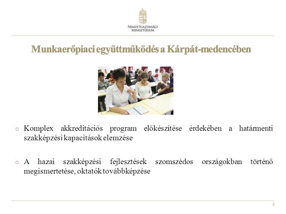 6 o Komplex akkreditációs program előkészítése érdekében a határmenti szakképzési kapacitások elemzése o A hazai szakképzési fejlesztések szomszédos országokban történő megismertetése, oktatók továbbképzése