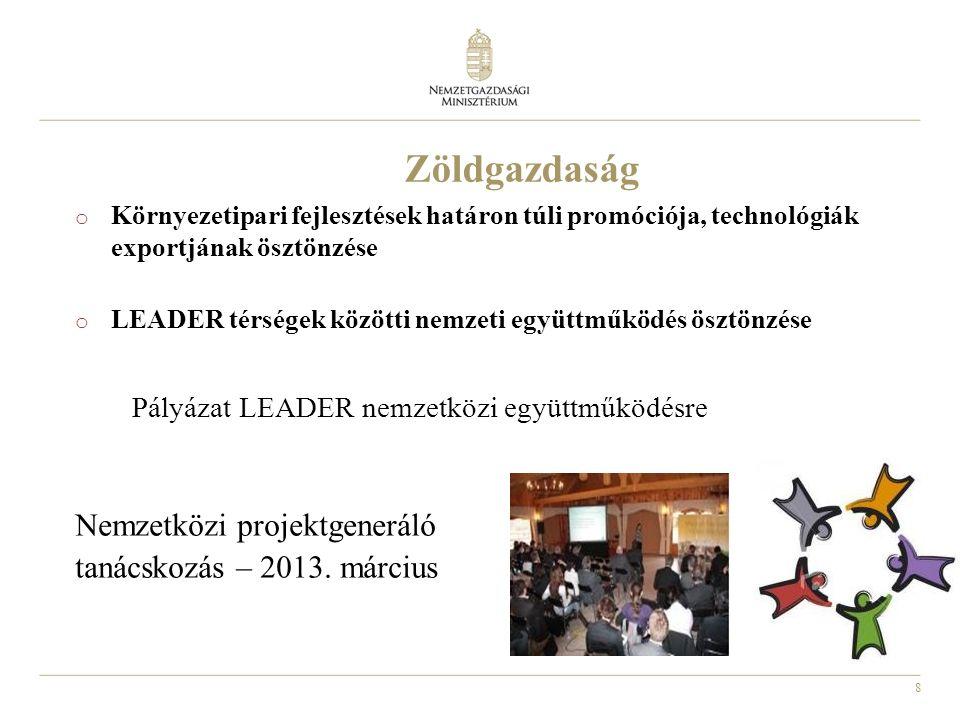 8 o Környezetipari fejlesztések határon túli promóciója, technológiák exportjának ösztönzése o LEADER térségek közötti nemzeti együttműködés ösztönzése Pályázat LEADER nemzetközi együttműködésre Nemzetközi projektgeneráló tanácskozás – 2013.
