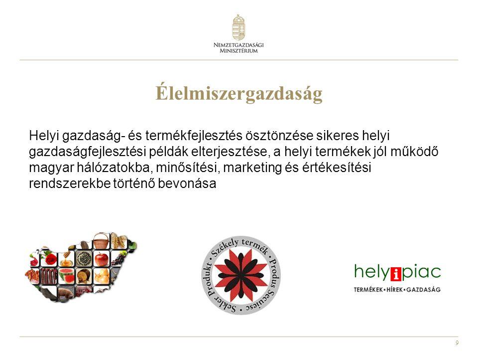 9 Élelmiszergazdaság Helyi gazdaság- és termékfejlesztés ösztönzése sikeres helyi gazdaságfejlesztési példák elterjesztése, a helyi termékek jól működő magyar hálózatokba, minősítési, marketing és értékesítési rendszerekbe történő bevonása