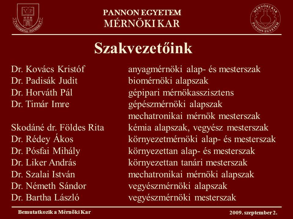 PANNON EGYETEM MÉRNÖKI KAR Szakvezetőink Dr. Kovács Kristófanyagmérnöki alap- és mesterszak Dr.