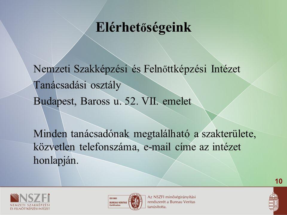10 Elérhet ő ségeink Nemzeti Szakképzési és Feln ő ttképzési Intézet Tanácsadási osztály Budapest, Baross u.