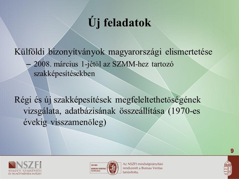 9 Új feladatok Külföldi bizonyítványok magyarországi elismertetése – 2008.