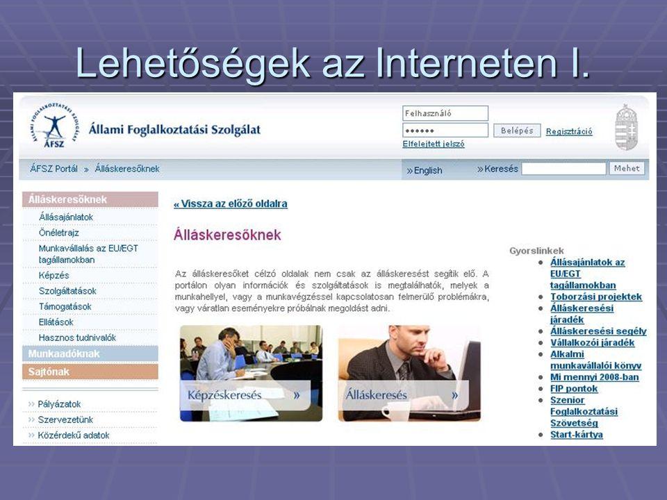 Lehetőségek az Interneten I.