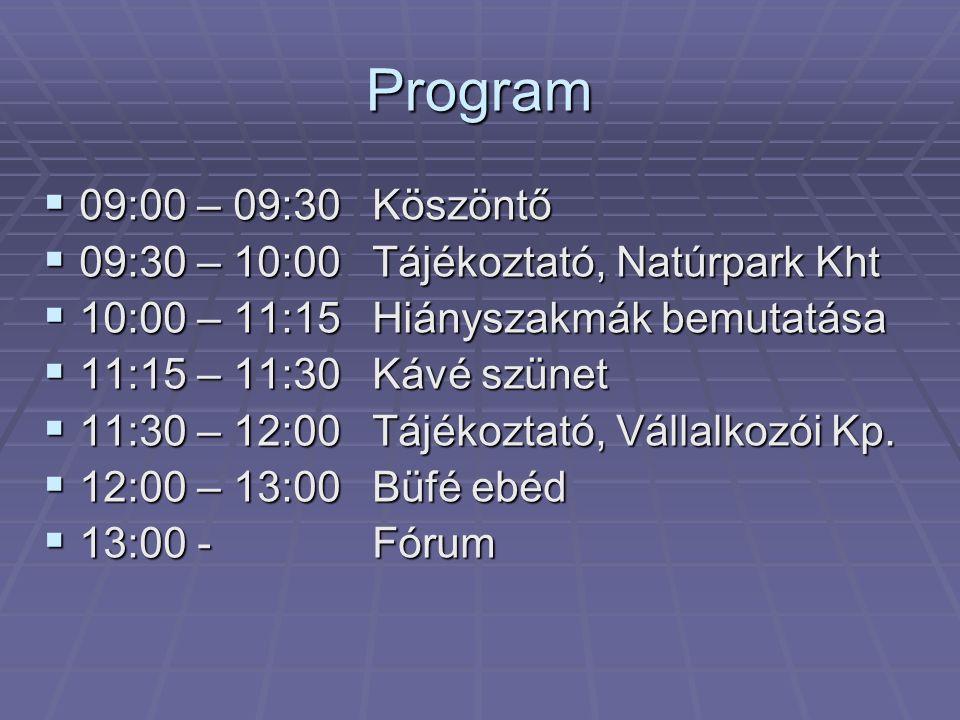 Program  09:00 – 09:30Köszöntő  09:30 – 10:00Tájékoztató, Natúrpark Kht  10:00 – 11:15Hiányszakmák bemutatása  11:15 – 11:30Kávé szünet  11:30 – 12:00Tájékoztató, Vállalkozói Kp.