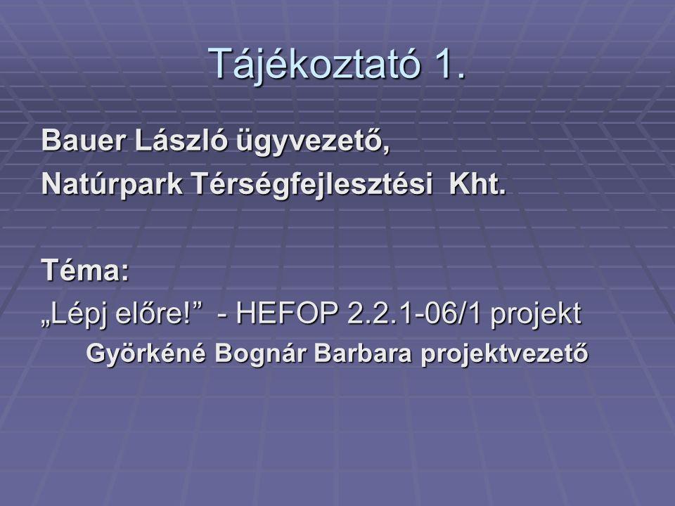 Tájékoztató 1. Bauer László ügyvezető, Natúrpark Térségfejlesztési Kht.