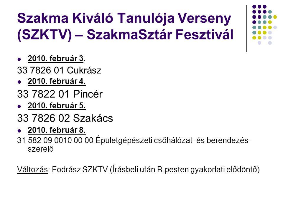 Szakma Kiváló Tanulója Verseny (SZKTV) – SzakmaSztár Fesztivál 2010.