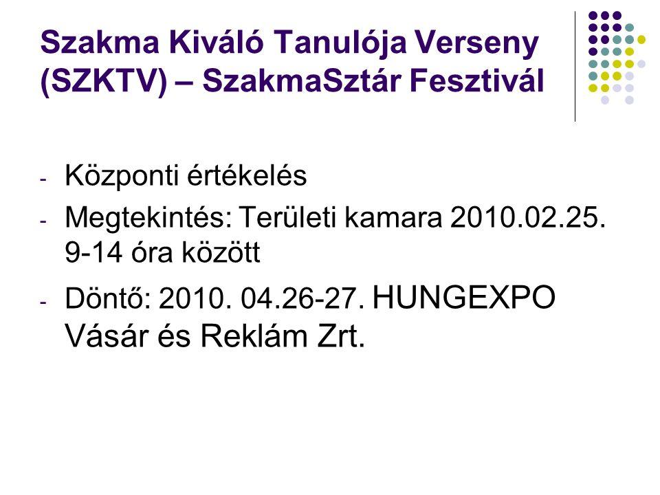 Szakma Kiváló Tanulója Verseny (SZKTV) – SzakmaSztár Fesztivál - Központi értékelés - Megtekintés: Területi kamara 2010.02.25. 9-14 óra között - Döntő