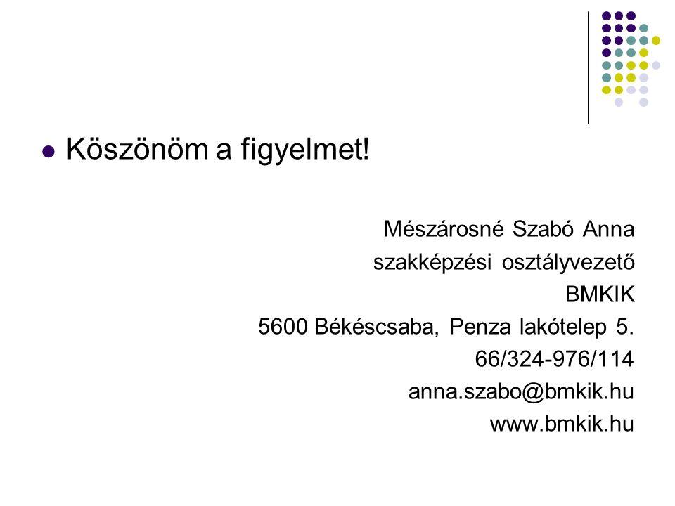 Köszönöm a figyelmet! Mészárosné Szabó Anna szakképzési osztályvezető BMKIK 5600 Békéscsaba, Penza lakótelep 5. 66/324-976/114 anna.szabo@bmkik.hu www