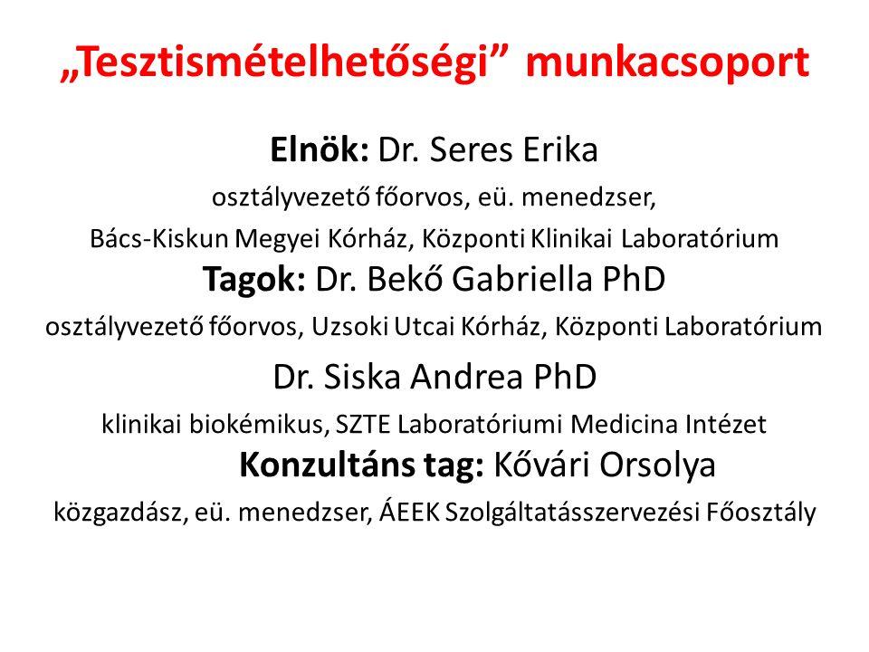 """""""Tesztismételhetőségi munkacsoport Elnök: Dr. Seres Erika osztályvezető főorvos, eü."""