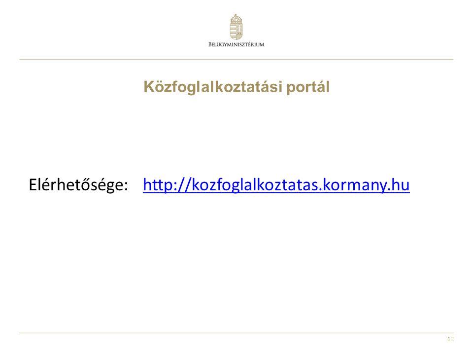 12 Közfoglalkoztatási portál Elérhetősége: http://kozfoglalkoztatas.kormany.huhttp://kozfoglalkoztatas.kormany.hu