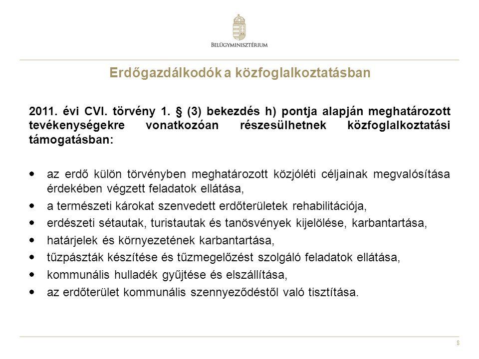 8 Erdőgazdálkodók a közfoglalkoztatásban 2011. évi CVI. törvény 1. § (3) bekezdés h) pontja alapján meghatározott tevékenységekre vonatkozóan részesül
