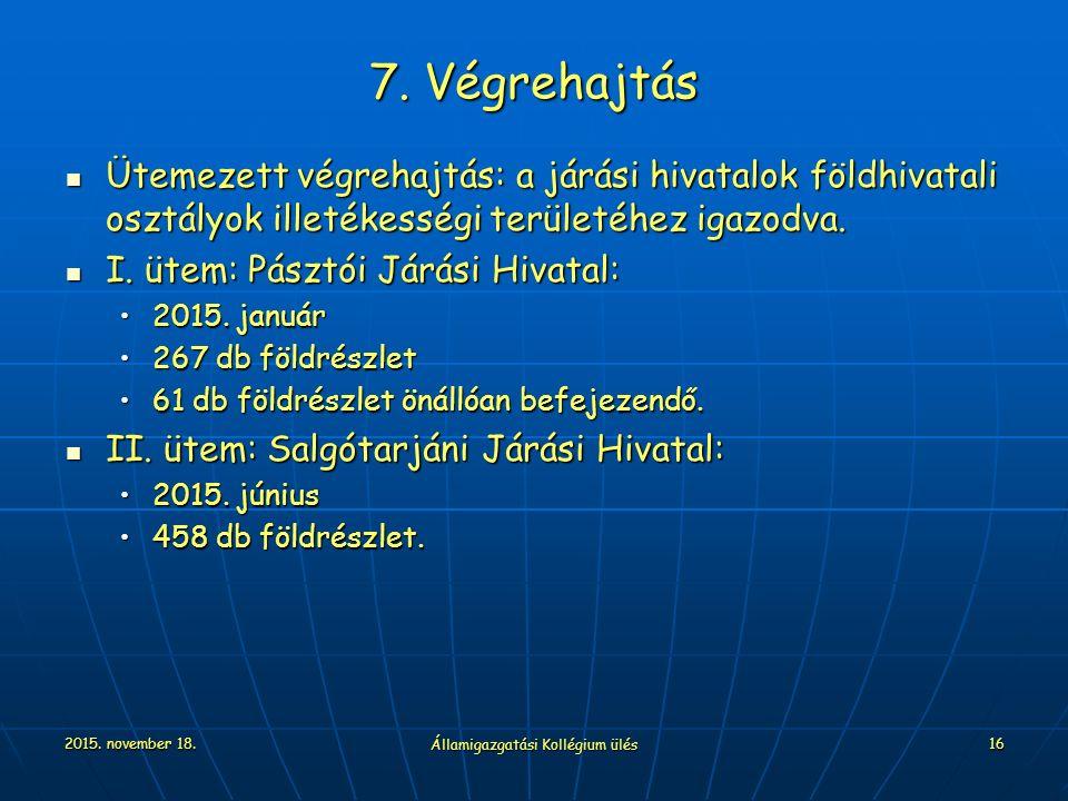 2015. november 18. Államigazgatási Kollégium ülés 16 7. Végrehajtás Ütemezett végrehajtás: a járási hivatalok földhivatali osztályok illetékességi ter