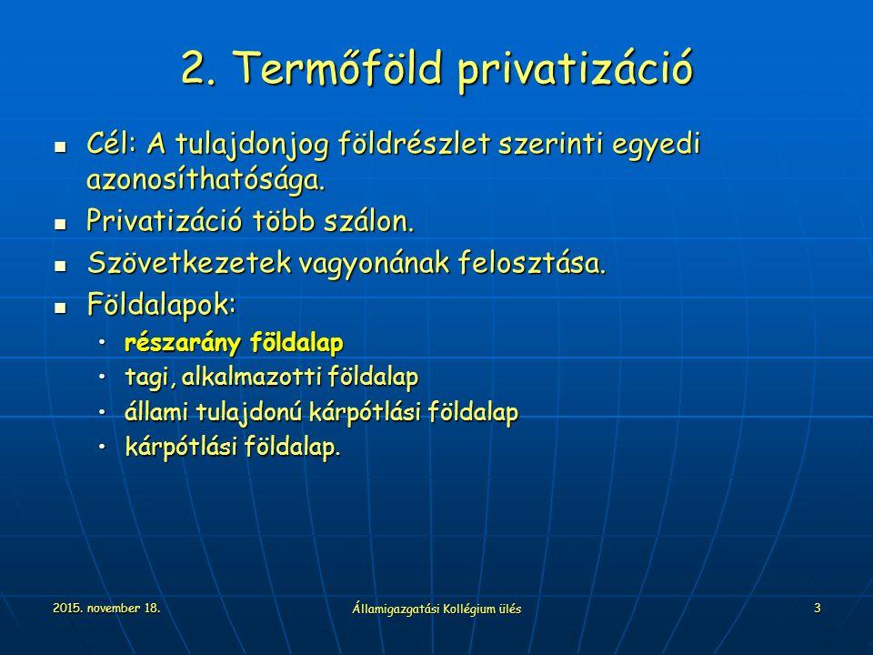 2015. november 18. Államigazgatási Kollégium ülés 3 2. Termőföld privatizáció Cél: A tulajdonjog földrészlet szerinti egyedi azonosíthatósága. Cél: A