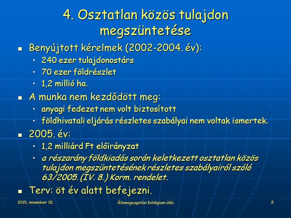 2015. november 18. Államigazgatási Kollégium ülés 8 4. Osztatlan közös tulajdon megszüntetése Benyújtott kérelmek (2002-2004. év): Benyújtott kérelmek