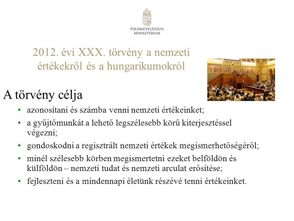 nemzeti érték – a magyar alkotótevékenységhez, termelési kultúrához, tudáshoz, hagyományokhoz, tájhoz és élővilághoz kapcsolódó, szellemi és anyagi, természeti, közösségi érték, vagy termék.