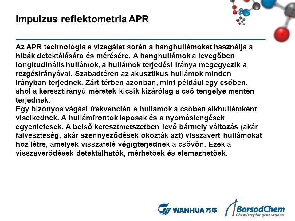 Impulzus reflektometria APR Az APR technológia a vizsgálat során a hanghullámokat használja a hibák detektálására és mérésére. A hanghullámok a levegő