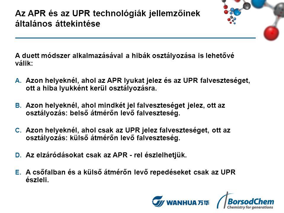Az APR és az UPR technológiák jellemzőinek általános áttekintése A duett módszer alkalmazásával a hibák osztályozása is lehetővé válik: A. Azon helyek