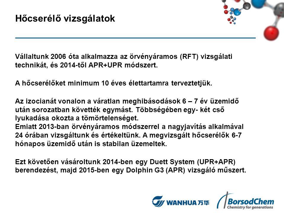 Hőcserélő vizsgálatok Vállaltunk 2006 óta alkalmazza az örvényáramos (RFT) vizsgálati technikát, és 2014-től APR+UPR módszert. A hőcserélőket minimum