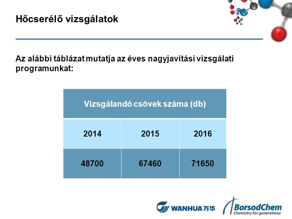 Hőcserélő vizsgálatok Az alábbi táblázat mutatja az éves nagyjavítási vizsgálati programunkat: Vizsgálandó csövek száma (db) 201420152016 487006746071