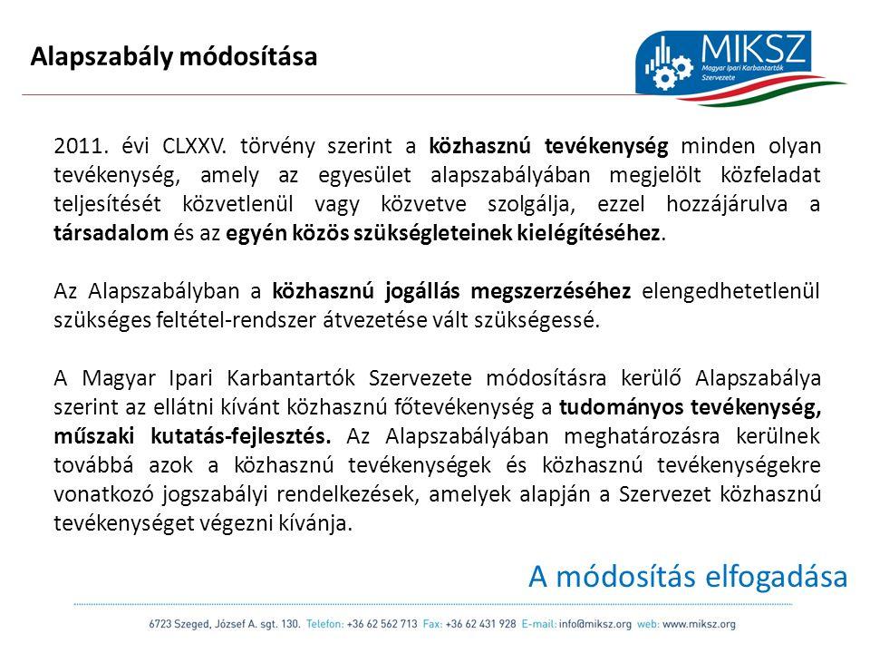 scapackaging.hu 10 Alapszabály módosítása 2011. évi CLXXV.