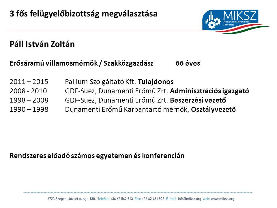 scapackaging.hu 21 3 fős felügyelőbizottság megválasztása Páll István Zoltán Erősáramú villamosmérnök / Szakközgazdász66 éves 2011 – 2015Pallium Szolgáltató Kft.