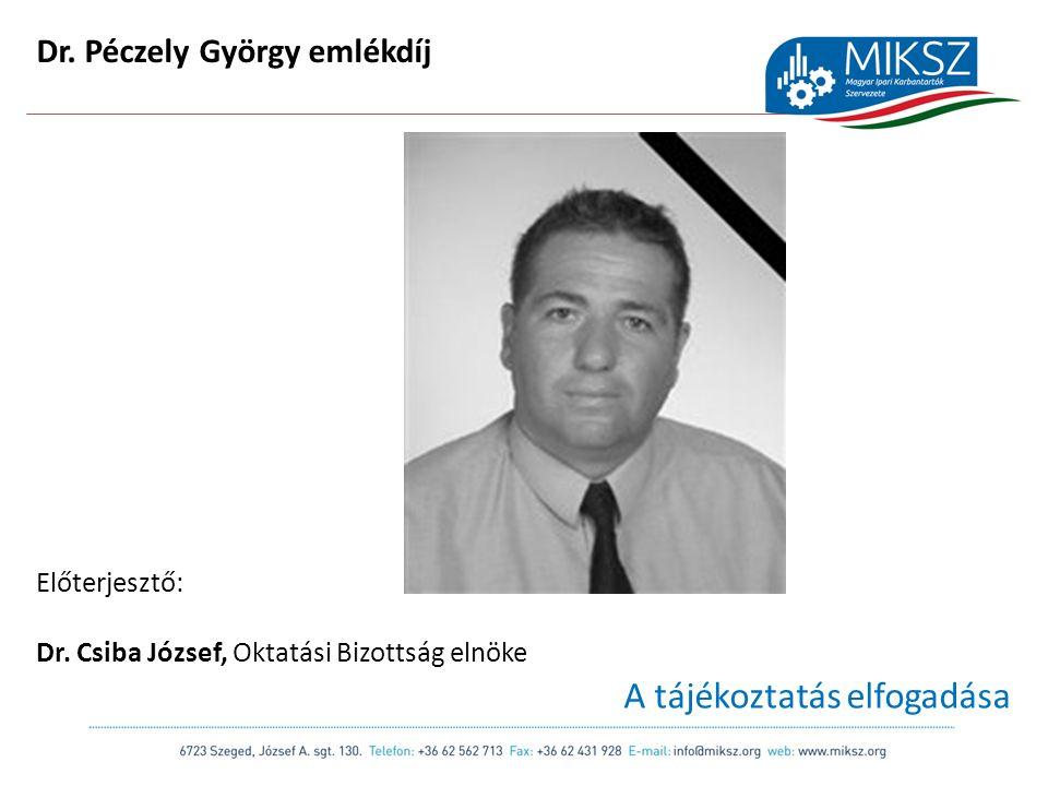 scapackaging.hu 34 Dr. Péczely György emlékdíj Előterjesztő: Dr.