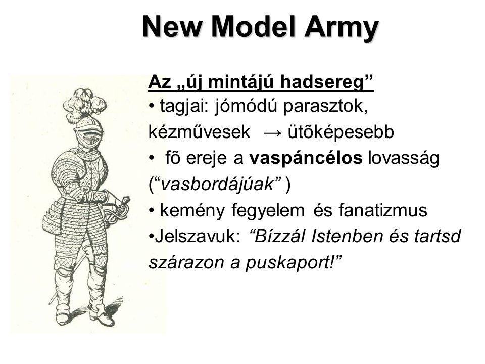 """New Model Army Az """"új mintájú hadsereg tagjai: jómódú parasztok, kézművesek → ütõképesebb fõ ereje a vaspáncélos lovasság ( vasbordájúak ) kemény fegyelem és fanatizmus Jelszavuk: Bízzál Istenben és tartsd szárazon a puskaport!"""