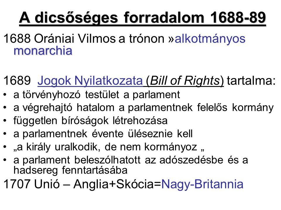"""A dicsőséges forradalom 1688-89 monarchia 1688 Orániai Vilmos a trónon »alkotmányos monarchia 1689 Jogok Nyilatkozata (Bill of Rights) tartalma: a törvényhozó testület a parlament a végrehajtó hatalom a parlamentnek felelős kormány független bíróságok létrehozása a parlamentnek évente üléseznie kell """"a király uralkodik, de nem kormányoz """" a parlament beleszólhatott az adószedésbe és a hadsereg fenntartásába 1707 Unió – Anglia+Skócia=Nagy-Britannia"""