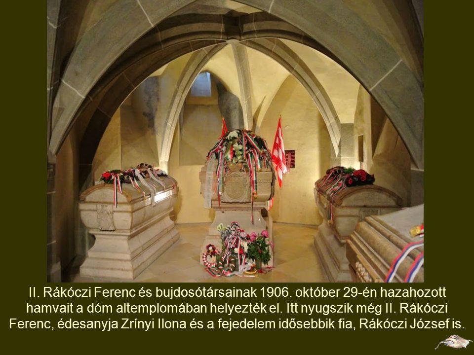 II. Rákóczi Ferenc domborműve 1938 óta díszíti a kassai Szent Erzsébet- székesegyház északi oldalán lévő falszakasz egy részét. A dombormű és a Rákócz
