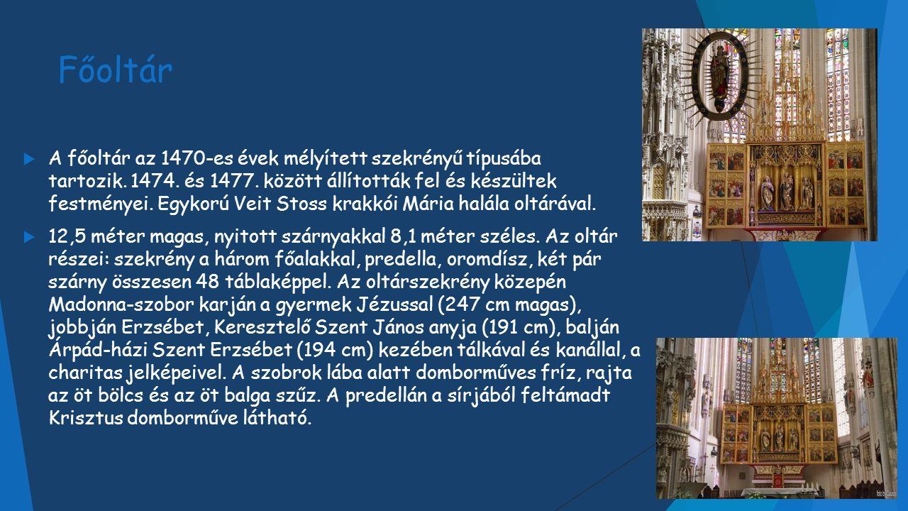 Főoltár  A főoltár az 1470-es évek mélyített szekrényű típusába tartozik.