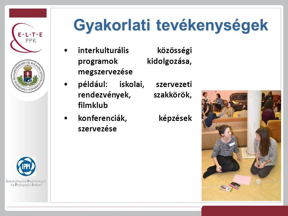 Gyakorlati tevékenységek Interkulturális Pszichológiai és Pedagógiai Intézet interkulturális közösségi programok kidolgozása, megszervezése például: iskolai, szervezeti rendezvények, szakkörök, filmklub konferenciák, képzések szervezése