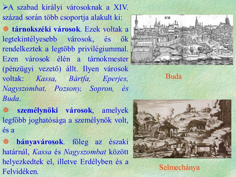  A szabad királyi városoknak a XIV. század során több csoportja alakult ki:  tárnokszéki városok. Ezek voltak a legtekintélyesebb városok, és ők ren