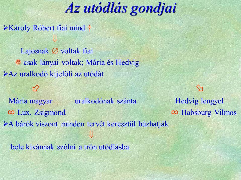 Az utódlás gondjai  Károly Róbert fiai mind †  Lajosnak  voltak fiai  csak lányai voltak; Mária és Hedvig  Az uralkodó kijelöli az utódát   Már