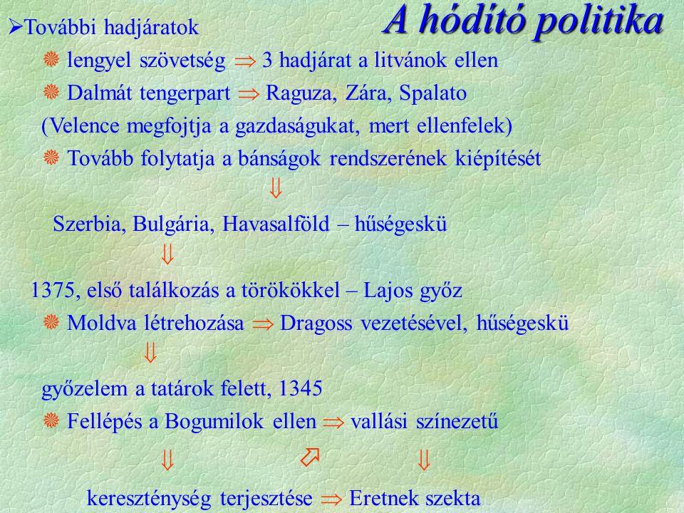 A hódító politika  További hadjáratok  lengyel szövetség  3 hadjárat a litvánok ellen  Dalmát tengerpart  Raguza, Zára, Spalato (Velence megfojtj
