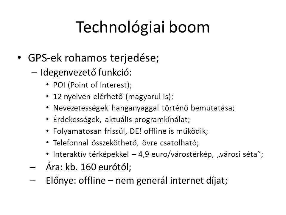 Technológiai boom GPS-ek rohamos terjedése; – Idegenvezető funkció: POI (Point of Interest); 12 nyelven elérhető (magyarul is); Nevezetességek hanganyaggal történő bemutatása; Érdekességek, aktuális programkínálat; Folyamatosan frissül, DE.