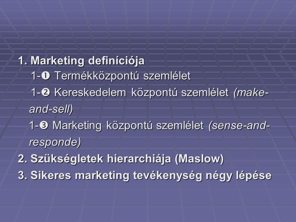 1. Marketing definíciója 1-  Termékközpontú szemlélet 1-  Termékközpontú szemlélet 1-  Kereskedelem központú szemlélet (make- and-sell) 1-  Keresk